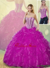 Latest Ball Gown Detachable  Fuchsia Quinceanera Dresses with Beading SJQDDT186002-6FOR