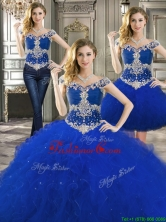 Latest Off the Shoulder Cap Sleeves Detachable Quinceanera Dresses with Beading and Ruffles YYPJ027CX003FOR