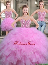 Lovely Beaded and Ruffled Tulle Detachable Quinceanera Dresses in Lilac YYPJ016CX003FOR