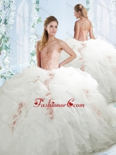Lovely Beaded and Ruffled White Detachable Quinceanera Dresses in Organza SJQDDT539002FOR