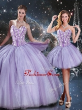 Lovely Sweetheart Beading Lavender DetachableQuinceanera Gown for 2016 QDDTA93001FOR