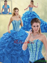 Luxurious Beading Blue Detachable Quinceanera Gowns with Sweetheart SJQDDT192002-3FOR