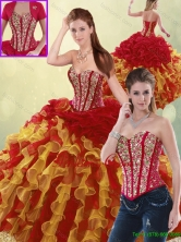 Luxurious Beading and Ruffles Detachable  Quinceanera Dresses in Multi Color SJQDDT193002-3FOR