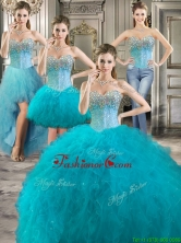 Modern Beaded Bodice and Ruffled Detachable Quinceanera Dresses in Teal YYPJ019CX004FOR