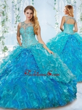 Modern See Through Blue Detachable Sweet 16 Dress with Beading and Ruffles SJQDDT536002FOR