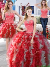 Modest Organza Detachable Quinceanera Dresses with Beading and Ruffles YYPJ003CX003FOR
