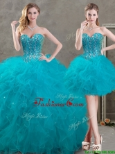 New Arrivals Beaded and Ruffled Teal Detachable Quinceanera Dresses in Organza SWQD050MT-7TZFOR