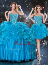 New Arrivals Detachable Sweetheart Sweet 16 Dresses with Beading in Blue QDDTA111001FOR