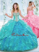 New Arrivals Rhinestoned and Ruffled Detachable Quinceanera Dress in Organza SJQDDT541002FOR
