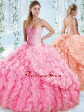 New Style Organza Beaded Rose Pink Quinceanera Dress with Detachable Straps  SJQDDT538002FOR