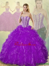 Popular Beading Purple Detachable  Quinceanera Gowns with Sweetheart SJQDDT186002-7FOR