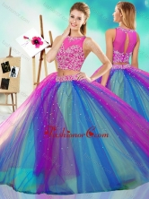 Rainbow Colored Big Puffy Detachable Quinceanera Dress with See Through SJQDDT600002FOR