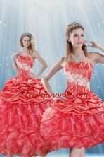 Romantic Detachable Watermelon Red Quince Dresses with Appliques and Ruffles XFNAOA43TZFOR