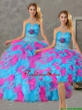 Romantic Hand Made Flowers and Ruffled Big Puffy Detachable Quinceanera Dresses in Blue and Pink QDZY464TZFOR