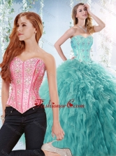 Simple Brush Train Beaded Detachable Quinceanera Gown in Aquamarine  SJQDDT532002AFOR