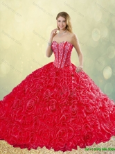 Spring Detachable New Style Brush Train Rolling Flowers Quinceanera Dresses in Red SJQDDT196002-4FOR