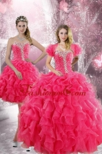 Trendy 2015 Detachable Hot Pink Quinceanera Dresses with Beading and Ruffles XFNAO885ATZFOR