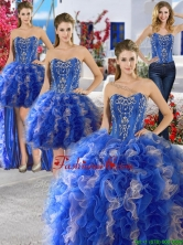 Unique Royal Blue and Champagne Organza Detachable Quinceanera Dresses with Appliques and Ruffles YYPJ011CX004FOR
