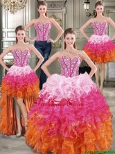 Visible Boning Beaded Bodice and Ruffled Detachable Quinceanera Dresses in Rainbow YYPJ015CX004FOR