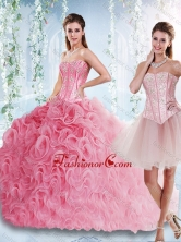 Visible Boning Rolling Flowers Detachable Quinceanera Gowns with Beaded Bodice SJQDDT530002AFOR