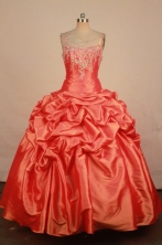 Wonderful Ball Gown Strap Floor-length Orange Red Taffeta Beading Quinceanera dress Style FA-L-230