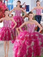 Wonderful Big Puffy Beaded and Ruffled Detachable Quinceanera Dresses in Organza YYPJ008CX004FOR
