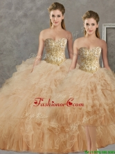 Wonderful Big Puffy Champagne Detachable Quinceanera Dresses with Beading and Ruffles SJQDDT93001FOR