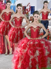 Wonderful Red and Champagne Organza Detachable Quinceanera Dresses with Appliques and Ruffles YYPJ012CX004FOR