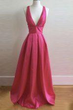 Custom Fit Sleeveless Criss Cross Floor Length Pleated Prom Evening Gown