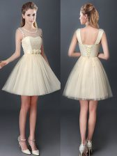 Sweet Scoop Champagne Tulle Lace Up Quinceanera Court of Honor Dress Sleeveless Mini Length Lace and Hand Made Flower