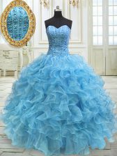 Gorgeous Organza Sweetheart Sleeveless Lace Up Beading and Ruffles Sweet 16 Quinceanera Dress in Baby Blue