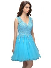 Pretty Baby Blue V-neck Neckline Beading and Appliques Prom Evening Gown Sleeveless Backless