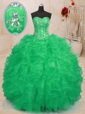 Fitting Teal and Green Sweet 16 Quinceanera Dress Military Ball and Sweet 16 and Quinceanera with Beading and Ruffles Sweetheart Sleeveless Lace Up