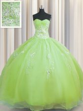 Zipper Up Olive Green Sleeveless Floor Length Beading and Appliques Zipper Quinceanera Gowns