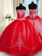Designer Strapless Sleeveless Sweet 16 Quinceanera Dress Floor Length Beading and Embroidery Red Tulle