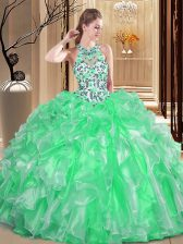 Elegant Scoop Sleeveless Organza Floor Length Lace Up Quinceanera Gown in with Embroidery and Ruffles