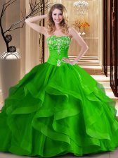 Sweet Sleeveless Tulle Floor Length Lace Up 15 Quinceanera Dress in with Embroidery and Ruffles
