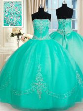 Glittering Turquoise Strapless Neckline Beading and Appliques Sweet 16 Dresses Sleeveless Lace Up