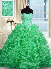 Green Organza Lace Up Sweet 16 Dress Sleeveless Sweep Train Beading