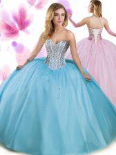 New Arrival Aqua Blue Lace Up Vestidos de Quinceanera Beading Sleeveless Floor Length