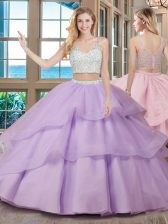 Organza Sleeveless With Train Quinceanera Gown Brush Train and Beading