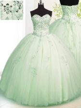 Apple Green Sweet 16 Dresses Military Ball and Sweet 16 and Quinceanera with Beading and Appliques Sweetheart Sleeveless Lace Up