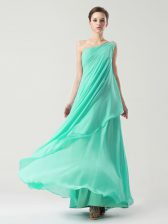 Amazing One Shoulder Turquoise Sleeveless Chiffon Side Zipper Prom Dresses for Prom and Party