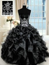 Wonderful Black Sleeveless Beading and Ruffles Floor Length Quinceanera Gowns