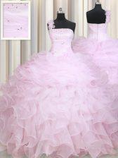One Shoulder Floor Length Ball Gowns Sleeveless Baby Pink Quinceanera Dress Zipper
