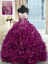 With Train Fuchsia Ball Gown Prom Dress Sweetheart Sleeveless Brush Train Lace Up
