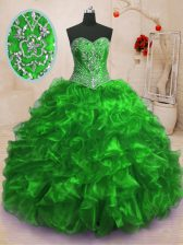 With Train Quinceanera Gowns Organza Sweep Train Sleeveless Beading and Ruffles