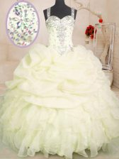 Admirable Light Yellow Sleeveless Beading and Ruffles and Pick Ups Floor Length Ball Gown Prom Dress