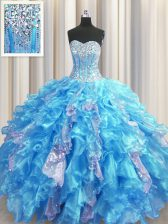 Visible Boning Baby Blue Sleeveless Beading and Ruffles and Sequins Floor Length Ball Gown Prom Dress