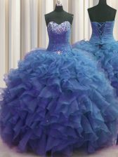 New Style Beaded Bust Floor Length Blue Quinceanera Gown Sweetheart Sleeveless Lace Up